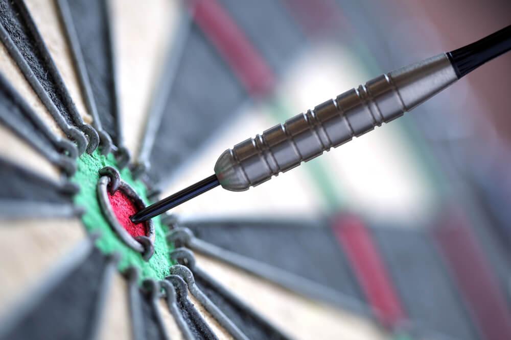 Darts bullseye to represent a focused goal