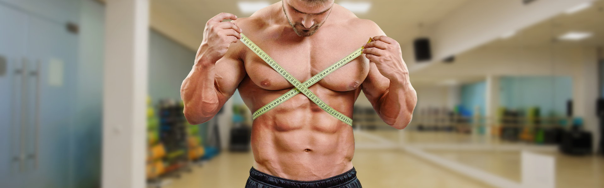 man taking body measurements